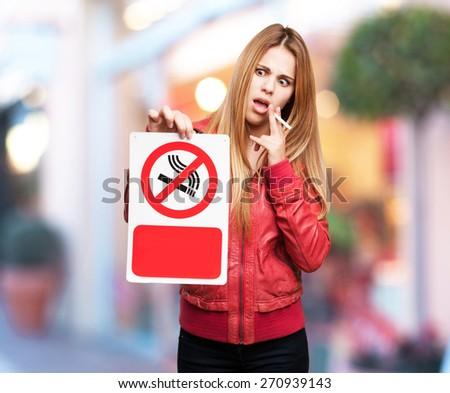 blond woman no smoking - stock photo