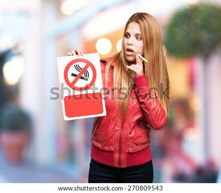 blond woman thinking. shopping center background - stock photo