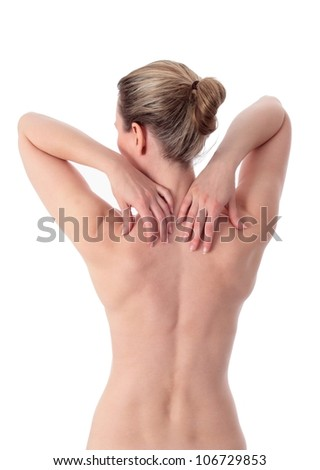 Blond woman with both hands on shoulder _ new - stock photo