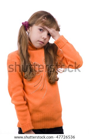Blond young girl with headache on white background. - stock photo