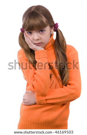 Blond young girl with toothache on white background. - stock photo