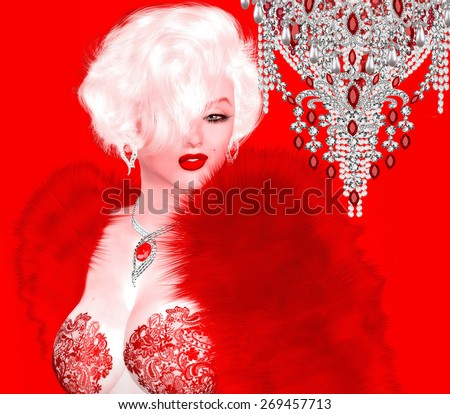 Blonde bombshell on red and pink abstract background. This classic blonde bombshell stands and poses, dazzling Hollywood with her red, couture fashion and stunning figure. Our unique digital art style - stock photo