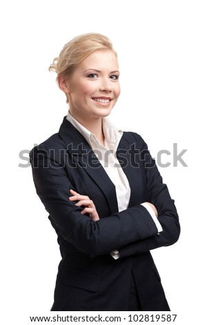 Blonde business woman in a black suit, isolated on white - stock photo