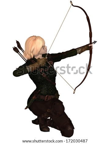 Blonde female archer with bow and arrow taking a kneeling shot, 3d digitally rendered illustration - stock photo