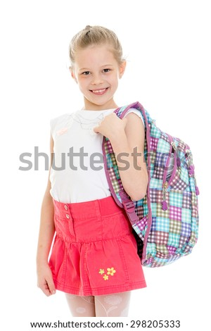 Blonde girl in a short pink skirt and a white shirt holding a backpack on his shoulders , possibly in the backpack are textbooks or books isolated on white background - stock photo