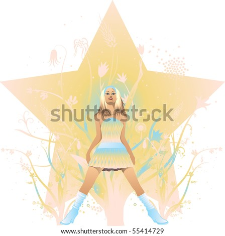 Blonde girl on abstract background - stock photo