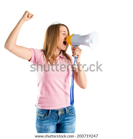 Blonde girl shouting with a megaphone over white background  - stock photo