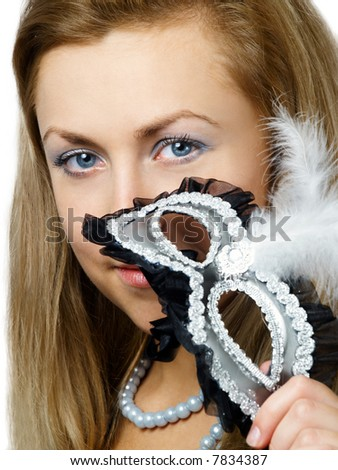 Blonde girl with silver mask - stock photo
