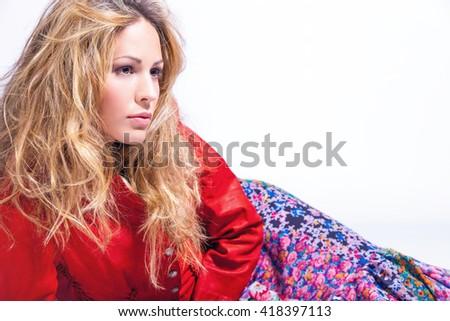 blonde hair woman portrait in studio - stock photo