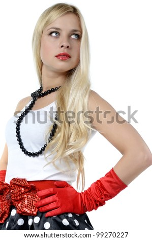 Blonde in black skirt and white blouse with red elements, isolated on white - stock photo