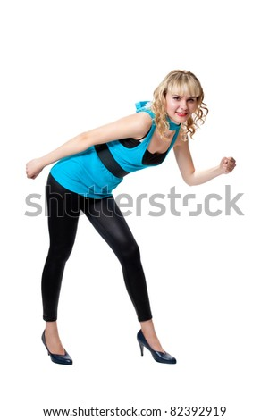 Blonde in blue tight dress posing in funny poses isolated on white - stock photo