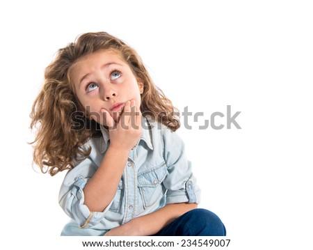Blonde little girl thinking over white background   - stock photo