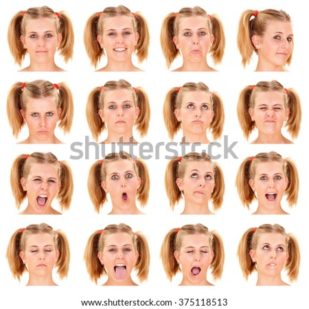 blonde ponytail young caucasian woman collection set of face expression like happy, sad, angry, surprise, yawn isolated on white - stock photo