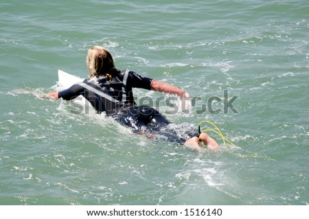Blonde surfer #1 - stock photo