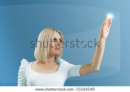 Blonde touching hi-tech - Interfaces collection - stock photo