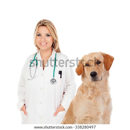 Blonde veterinary with a nice Labrador Retriever isolated on a white background - stock photo
