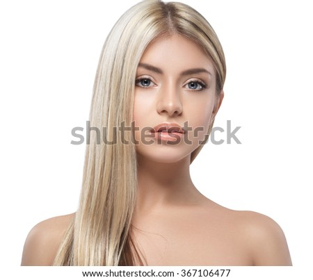 Blonde woman beauty portrait close-up isolated on white  - stock photo