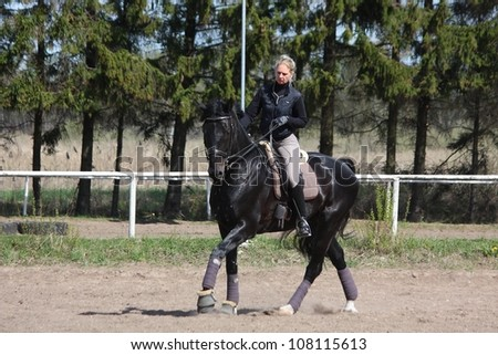 Blonde woman galloping on beautiful latvian breed latvian horse - stock photo