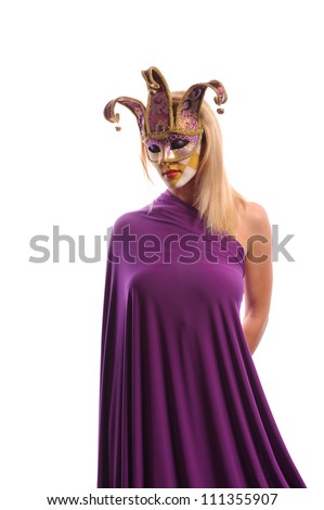Blonde woman in violet carnival mask, isolated on white - stock photo