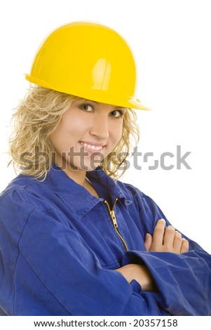 Blonde woman with blue collar clothing - stock photo