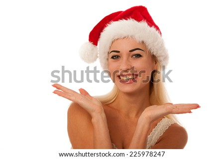 Blonde woman with santa claus hat isolated - stock photo