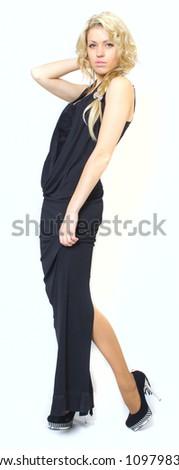 Blondie in black dress - stock photo
