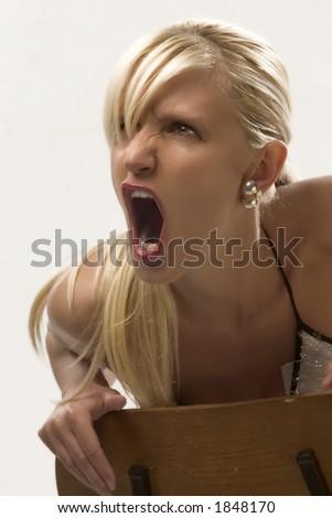 blondie is screaming - stock photo
