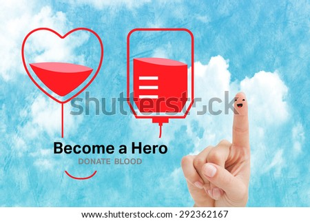 Blood donation against painted blue sky - stock photo