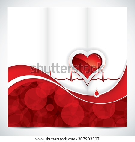 Blood donation brochure design with heart and blood drop.Medical - stock photo