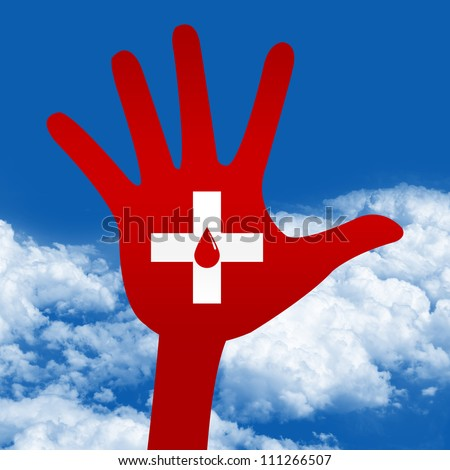 Blood Donation Concept Present By Red Blood Drop in Cross Sign on Hand in Blue Sky Background - stock photo