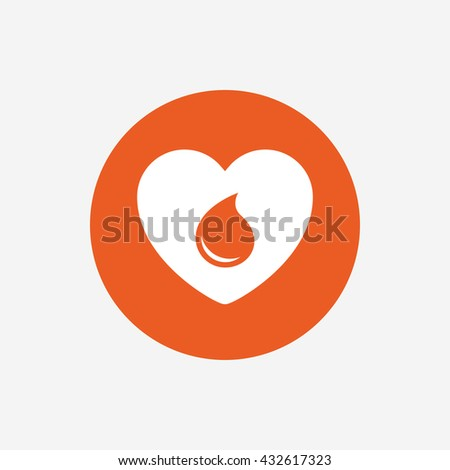 Blood donation sign icon. Medical donation. Heart with blood drop. Orange circle button with icon.  - stock photo