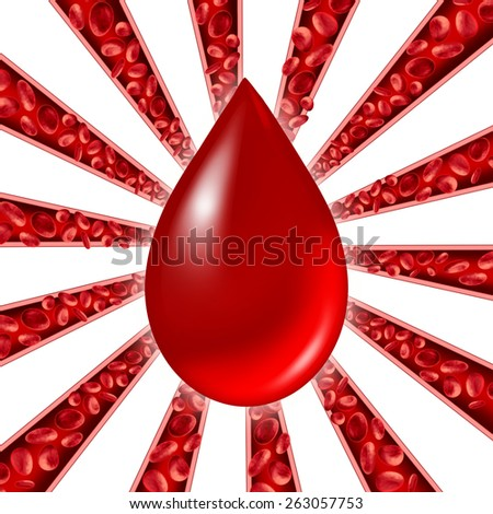 Blood donation symbol as red cells flowing through veins and human circulatory system with a group of arteries shaped as a starburst pattern representing a cardiovascular medical health care symbol. - stock photo