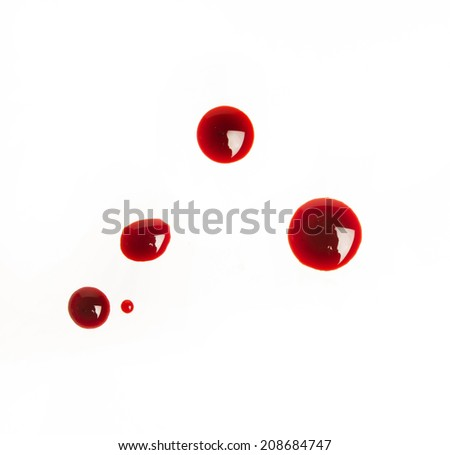 blood drops on a white background - stock photo