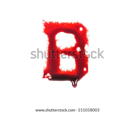 Blood fonts with dripping blood, the letter B - stock photo