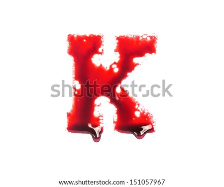 Blood fonts with dripping blood, the letter K - stock photo