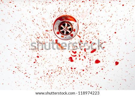 Blood in a washbasin - stock photo