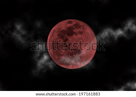 blood moon and clouds - stock photo