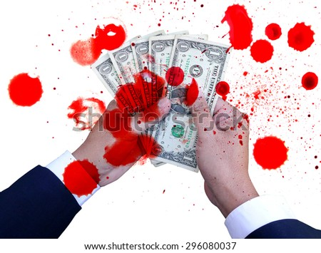 blood on hands of businessman holding dollar - stock photo