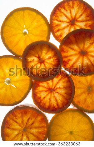 Blood orange slices with back light (top view)  - stock photo