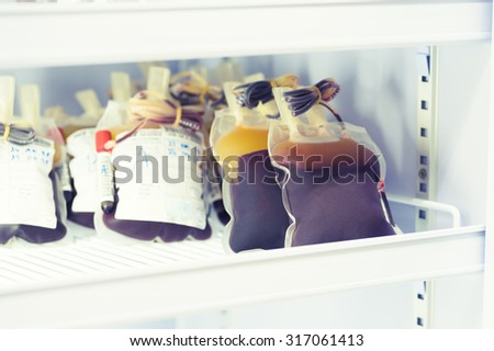 blood pouch in refrigerator at blood bank at laboratory hospital - stock photo