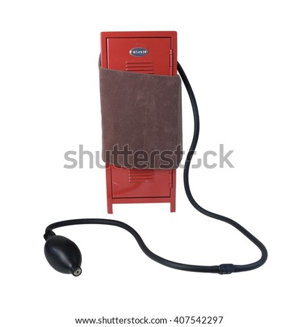Blood pressure cuff on a school locker to show school stress - path included - stock photo