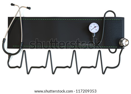 Blood pressure cuff with stethoscope in the shape of a heart waveform. Room for text or copy space on a white background. - stock photo