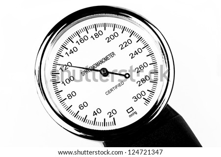 Blood pressure measutment tool sphygmomanometer isolated on white background - stock photo