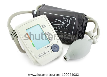 Blood pressure monitor, isolated on white. - stock photo