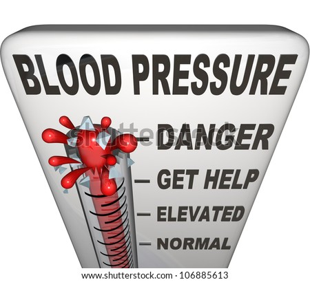 Blood Pressure words on a thermometer measuring your hypertension, with level rising past normal, elevated and danger to burst at maximum point - stock photo