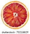 Blood red orange slice isolated on white background - stock photo