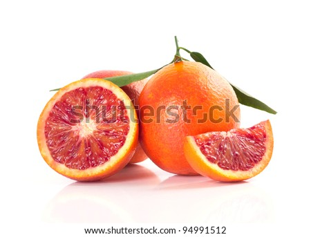 Blood red oranges isolated on white background - stock photo