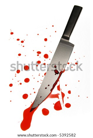 blood spattered knife - stock photo