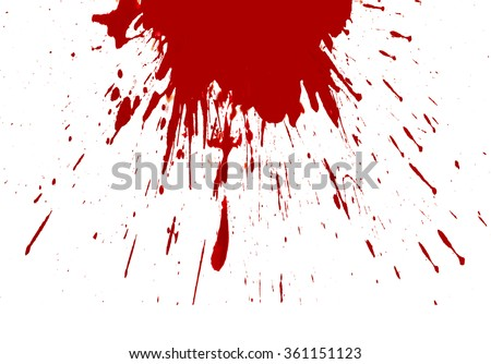 Blood splashed white background - stock photo