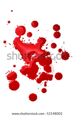 Blood splatters isolated over the white background - stock photo